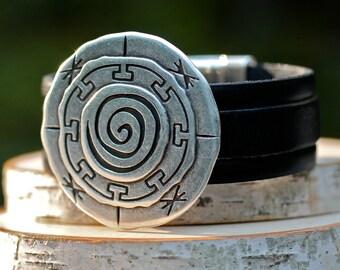 Mandala Bracelet , Large Silver Bracelet , Leather Bracelet ,  Leather Cuff , Silver Bracelet , Spiritual Jewelry , Amy Fine Design