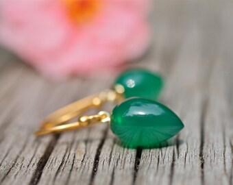 Dark Green Earrings , Inverted Tear Drop Earrings , Green Onyx Earrings , Fine Jewelry , Amy FIne Design