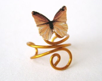 Gold Ear Cuff - Gold Butterfly Earring Cuff - Gold Jewlery - Wire Jewelry -  Gold EarCuff - Ear Climber No Piercing Cartilage Ear Wrap