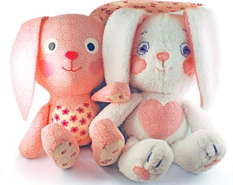 PDF sewing pattern and tutorial bunnies Rosy and Snowy