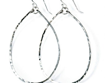 Thin Silver Hoop Earrings - Hoops Not H00pz - Thin Oval Sterling Silver Hand Hammered Hoop Earrings