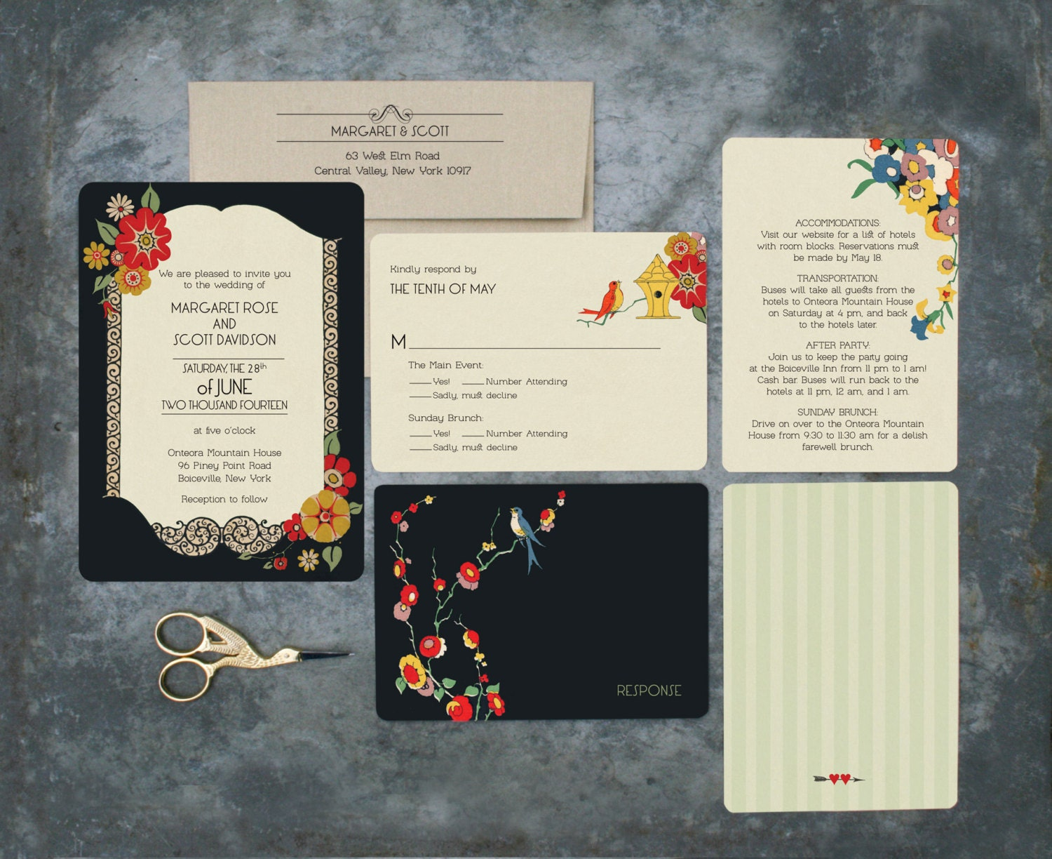Outdoor Wedding Invitation Wording: Wedding Invitation Set Garden Wedding Outdoor Wedding By