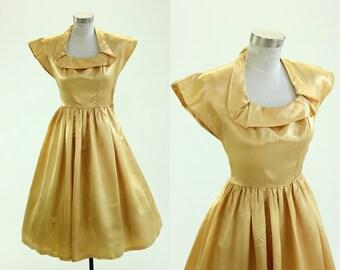 1940's Fred Perlberg Dance Originals Satin Dress S XS Designer