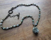 Knotted Druzy Aura Quartz Crystal Cluster Pendant beaded Necklace with Twisted Toggle