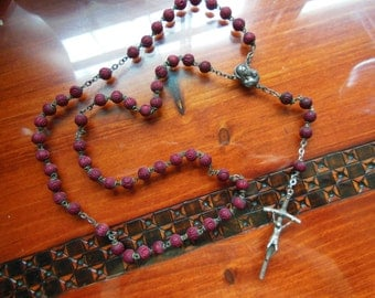 Vintage Carved Red Wood and Silver Toned Rosary Prayer Beads