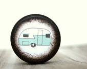 Pill Box Honeymoon Teal Camper  Pill Box  Stocking Stuffers Camping Summertime Vacation Treasure Box