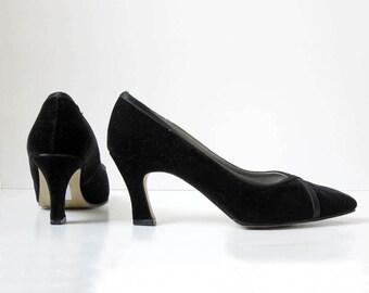 Black Heels/ Velvet/ The Crosshatch Pump