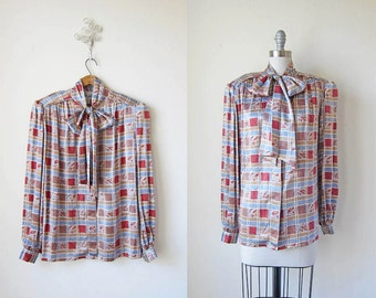 Silk Blouse/ Bow Top/ Days of Dallas