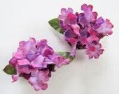 Purple Hydrangea Lilac Clip On Earrings