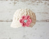 Off White Hat for Toddlers, Crochet Hats for Girls, Newsboy Hat with Flower, Cotton, 12 Months to 4T