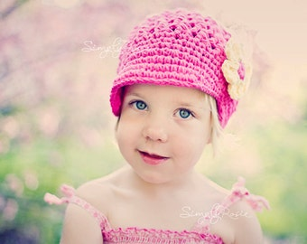 Crochet Hats for Girls, Newsboy Hat, Crochet Visor Beanie, Baby Girl Hats, Hot Pink Crochet Hat, Yellow, Cotton, 0 to 12 Months