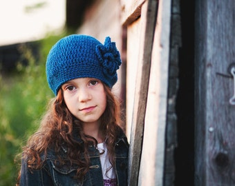 Blue Girl's Slouch Hat, Crochet Hats for Girls, Crochet Beret, Slouchy Beanie Hat with Flower, 5T - Teen