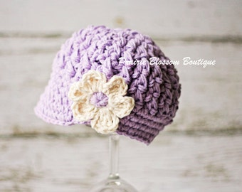 Crochet Baby Hat, Violet Baby Girl Hat, Newborn Newsboy Hat, Infant Hat for Girl, Crochet Newborn Hat, Newborn Size