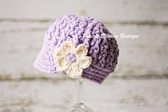 Crochet Baby Hat, Violet Baby Girl Hat, Newborn Newsboy Hat, Infant Hat for Girl, Crochet Newborn Hat, Newborn Size