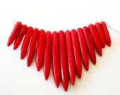 Red Spike Beads - Gemstone Spikes - Point Turquoise Howlite - Graduated Fan Beads - Ethnic Tribal  For Jewelry Making - 20mm-48mm