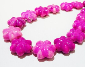 """Fuscia Pink Flower Beads - Carved Flower Gemstone Focal Beads - Fuchsia Pink  Rose Drilled Stone - 18mm - 16"""" Strand - DIY  Jewelry Project"""