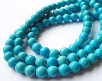 "Turquoise Round Beads - Blue Turquoise Howlite - Gemstone Round Ball Beads - Smooth Drilled - 8mm - 16"" Strand - DIY Jewelry Making"
