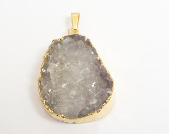 Druzy Geode Pendant - Gold Edged Druzy Teardrop - Gray Natural Crystal Stone - Electroplated Gold - Jewelry - Select With/ Without Chain