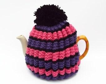 tea cosy  hand knitted cozy pink purple stripe  tea cosie