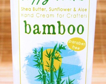 Fresh Bamboo Scented Hand Cream for Knitters - 2oz Travel HAPPY HANDS Shea Butter Moisturizing Hand Lotion