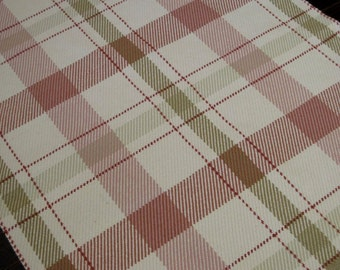 Plaid Rug, Hand Woven Rug Runner, Wool Area Rug   Cream Beige Coral Red