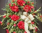 Summer Door Wreath, Hydrangea Wreath, Door Wreaths, Summer Wreath Etsy, Morning Glory Burlap Wreath
