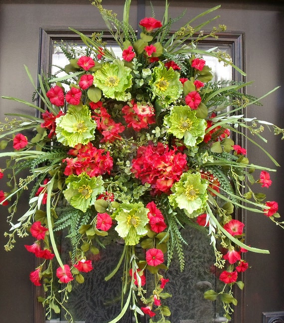 Items similar to spring wreaths poppy wreath spring door Spring flower arrangements for front door