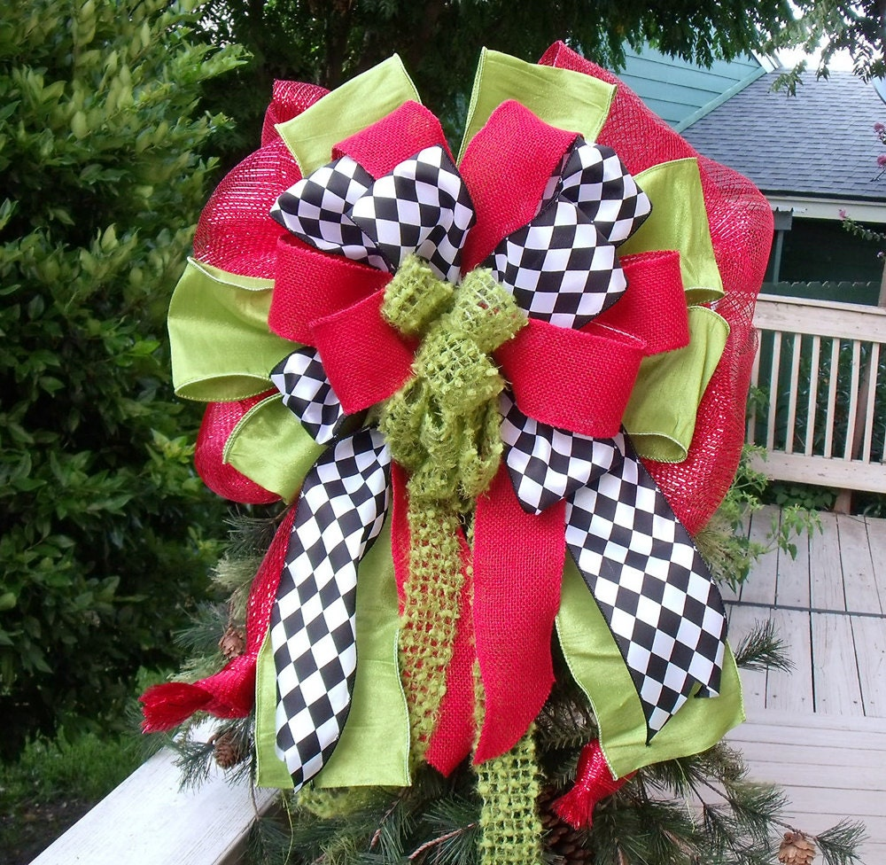 Christmas Bow Tree Topper Big Wreath Bow Red and Lime Tree