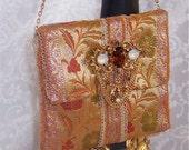 Sari Silk Jaquard Shoulder Evening Bag With Faux Jewels Embellishment