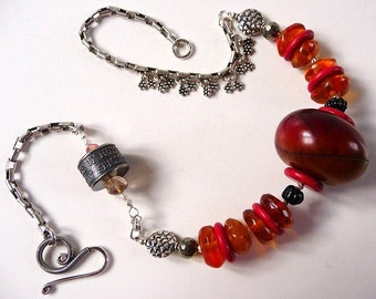 Anne Choi bead ~ African copal ~ Baltic amber bead necklace ~ original hand made