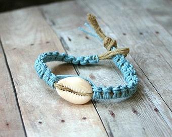 Hemp Bracelet Or Anklet With Cowrie Shell Light Blue