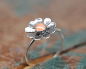 Delicate Blooming Poppy Gemstone Ring. Sterling silver floral gemstone stacking ring. Springtime jewelry.