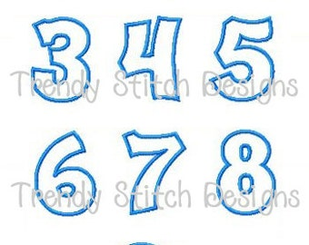 Happy Numbers Small Applique Design Machine Embroidery Font Birthday INSTANT DOWNLOAD 1 2 3 4 5 6 7 8 9 0