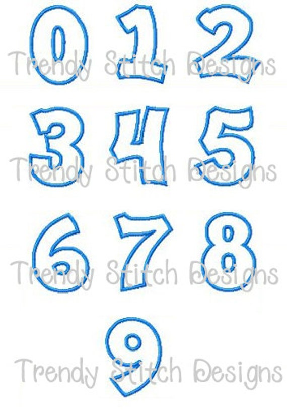 Happy Numbers Small Applique Design Machine Embroidery