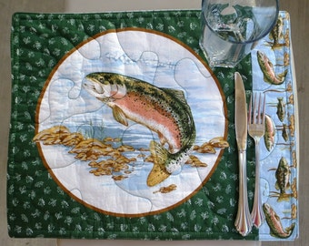 Placemats - Trout and Largemouth Bass, Reversible (Set of 6)