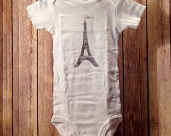 Eiffel Tower Paris hand-printed France French baby boy or girl one piece bodysuit