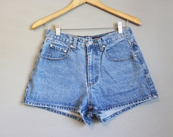 High Waisted Jean Shorts Vintage Denim Butterfly Medium 29 Waist