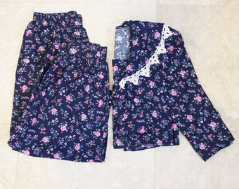 90s Floral Outfit Vintage 2 Piece English Country Pants Top Small
