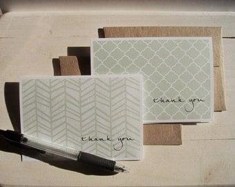 Modern Thank You Cards - Light Sage Green Thank You Notes, Herringbone Quatrefoil Wavy Stripes Mod Diamond Stationery, Thank You Card Set