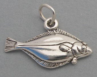 Sterling Silver 925 Charm Pendant 3D Pacific HALIBUT FISH 1427