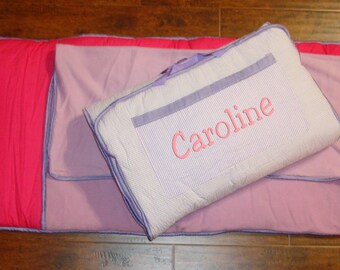 Lavender and Pink Nap Mat personalized Large Size Including Blanket, Pad, and Pillow