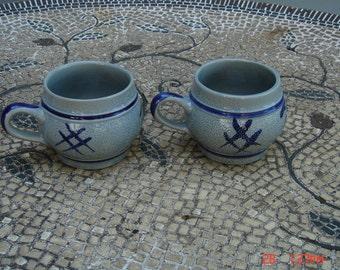 Vintage Original Gerzit Staffel Stoneware Salt glazed Mugs  - Made in Germany - Very Rare
