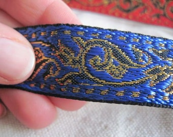 royal BLUE and Gold on Black ENCHANTED SPIRIT jacquard woven ribbon