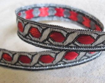 Celtic Chain Metallic Jacquard Ribbon in RED and SILVER