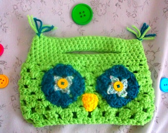 Child's Purse, Lime Green, Handle, Owl Design