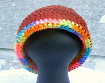Hat, Size 3 to 6 Months, Brown, Roll Up Brim With Multicolor Stripe