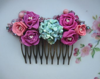 When Spring Comes...vintage glass rhinestone bridal shabby chic french hair comb
