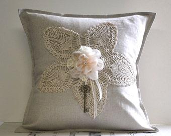 """Linen crochet pillow cover 16""""x16"""""""
