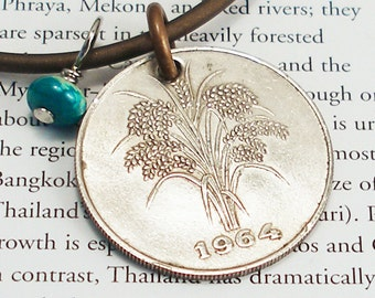 Viet Nam, Vintage Coin Necklace --- White Gold --- Agriculture - Asian Rice - Old World Grains - Travel - UpCycled - Vietnam