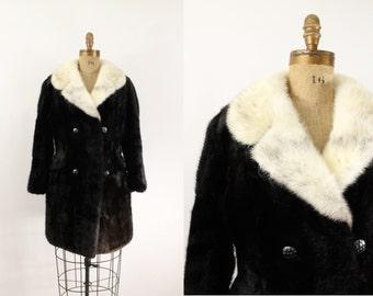 fur coat - black muskrat coat - vintage black muskrat fur coat - mid length